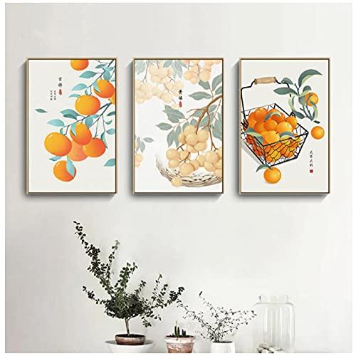 MENGX Impresión de Lienzo de Creatividad,póster de Fruta Naranja e Impresiones, imágenes artísticas de Pared, Sala de Estar, decoración del hogar, sin Marco
