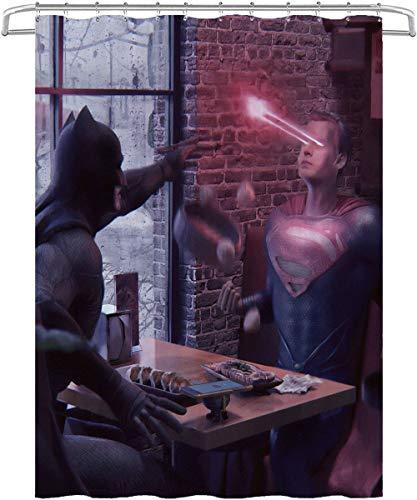 Visionpz Duschvorhang Batman v Superman: Dawn of Justice Anti-Mehltau Wasserdichter waschbarer gewichteter Saum, antibakterieller Duschvorhang aus Polyester, Badvorhang mit 12 Ringen 150x180cm