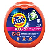 Tide PODS Laundry Detergent Liquid Pacs Tub, Fresh Coral Blast Scent, 3 in 1 HE Turbo, 81 Count…