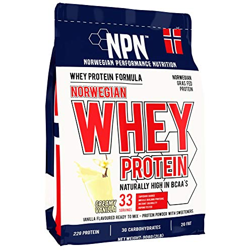NPN Whey Protein Powder | Premium Norwegian grass-fed Whey protein | Protein powder for muscle building with essential amino acids | 33 servings | 908g creamy vanilla