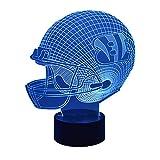 New Creative American Football Cap 3D LED Illusion Night Light USB Remote Control 16 Color Change Bedroom Desk Lights (Cincinnati Bengals)