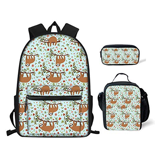 doginthehole Girls Sloth Pattern Backpack Bookbag 3Pcs Best Lunch Boxes for Kids Pencil Pen Holder Pouch Purse