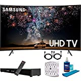 SAMSUNG UN65RU7300 65' RU7300 HDR 4K UHD Smart Curved LED TV (2019 Model) with Home Theater Surround Sound 31' Soundbar Bundle Includes Screen Cleaner + 6-Outlet Surge Adapter + 2X HDMI Cable Black