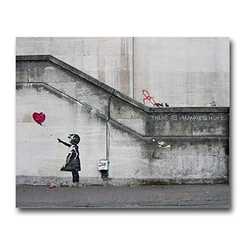 EDGIFT2 Niñas y Globos de Banksy Decoración de Arte de Pared Pintura de Lienzo Caligrafía Impresión de póster Imagen Decorativa Sala de Estar Decoración del hogar 50x40 cm Sin Marco