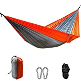 BeiLan Portable Lightweight Camping Hammock,Single & Double Parachute Nylon Hammock with Straps for Backpacking,Camping,Travel,Beach,Garden,etc 270 x 140 cm(Orange & Grey)