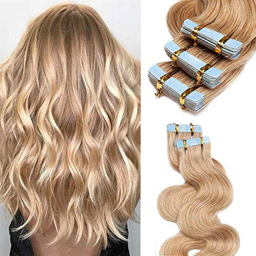 Rich Choices Extension Adesive Capelli Veri Ricci 100% Remy Human Hair Extension Capelli Umani Biadesivo 40g/set 20PCS, 35cm #27 Biondo Scuro