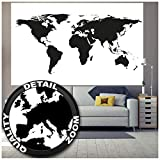 world map poster black and white - Poster – Black & White Wold Map – Picture Decoration High Contrast Atlas Continents Earth Globe Card Graphic Design Image Photo Decor Wall Mural (55x39.4in - 140x100cm)