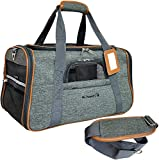 Mr. Peanut's Airline Approved Soft Sided Pet Carrier - Luxury Travel Tote with Premium Self Locking Zippers - Plush Faux Fleece Bedding with a Sturdy Plywood Base, 18LX10WX11 H (Sunset Gray)