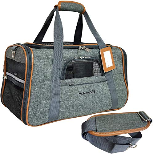 Mr. Peanut's Airline Approved Soft Sided Pet Carrier - Luxury Travel Tote with Premium Self Locking...