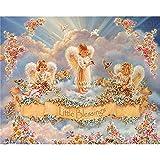 Kit de punto de cruz DIY bordado de diamantes tres angelitos completo cuadrado/redondo pintura de diamantes mosaico decoración del hogar, cuadrado 70x100cm