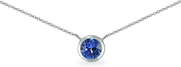 Sterling Silver 6mm Round Bezel-Set Dainty Choker Necklace Made with Swarovski Crystals