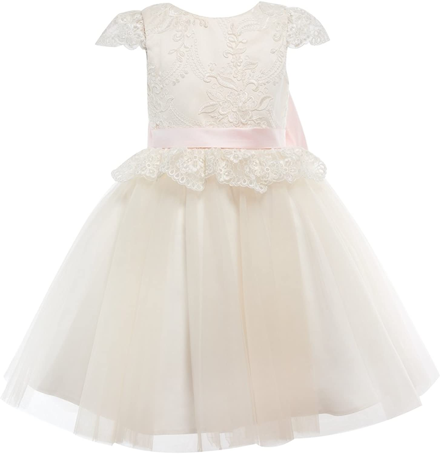 Miama Ivory Lace Champagne Tulle Cap Sleeves Wedding Flower Girl Dress Junior Bridesmaid Dress