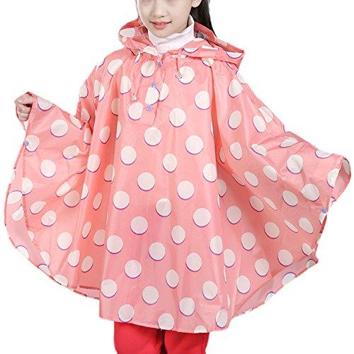 Dehots Regenmantel Kinder Regenponcho Regenjacke Unisex mit Kapuze Wasserdicht Regencape für Jungen Mädchen, L- Höhe:115-125cm, # 04