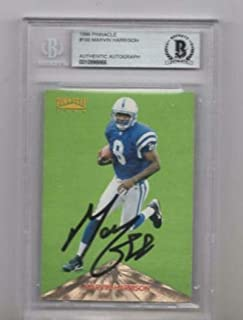 1996 Pinnacle Marvin Harrison Signed Card Beckett Authentic Autograph - Beckett Authentication - NFL Autographed Football Cards