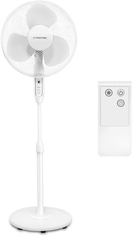 TROTEC Ventilador de Pie TVE 25 S / Mando a Distancia / Temporizador / 40 W / Ajustable en Altura / 3 Velocidades de Ventilación / Pie de apoyo estable / Oscilación automática de 80°