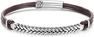 Footprint 925 Sterling Silver Genuine Mens Boys Leather Bracelet Braided Rope Inspirational Charm Bar Jewelry For Mens Push Button Locking Clasp, 7.5/8.3