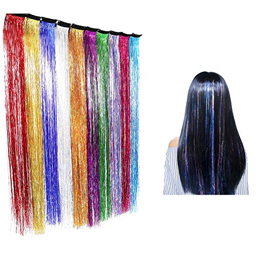 PrettyWit Hair Tinsel Strands Straight Clip on in Hair Dazzle Extensions Hairpieces Colored Party Highlights 10 Pcs