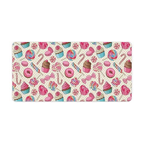 Extended Gaming Mouse Pad with Stitched Edges Waterproof Large Keyboard Mat Non-Slip Rubber Base Yummy Lollipop Cy Macaroon Cupcake Donut on Polka Dots Desk Pad for Gamer Office Home 12x24 Inch