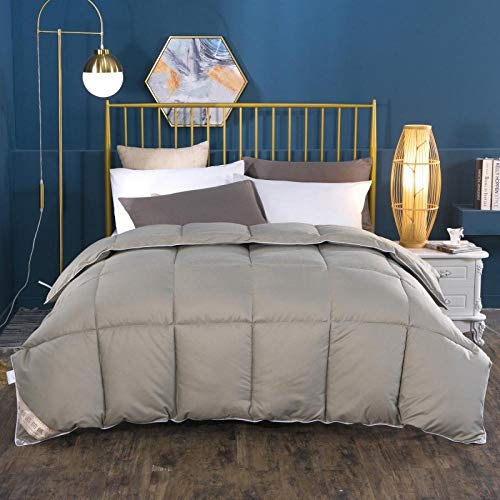 Single Duvets White Goose Feather and Down Duvet 100% Cotton Shell Four-Season Goose Down-Classic -Anti-allergy-Cooling-Duvet Quilt-Gray_180x220cm-2000g