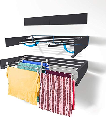 DIYofHome Wand Wäschetrockner aus hochwertigem Aluminium, Wäscheleine zur Wandmontage, Indoor & Outdoor, Balkon | Terasse | Wäscheständer ausklappbar | platzsparend | Anthrazit