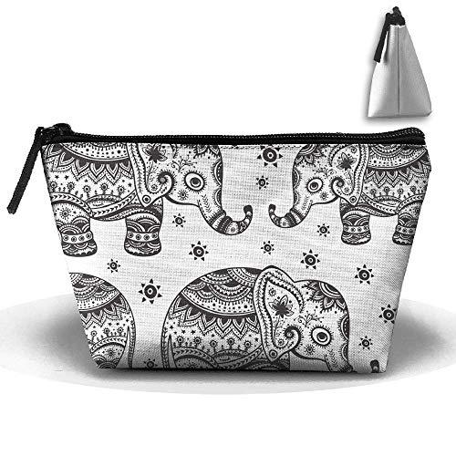 Hipiyoled Bolsa de almacenamiento trapezoidal portátil con diseño de elefante indio con cremallera