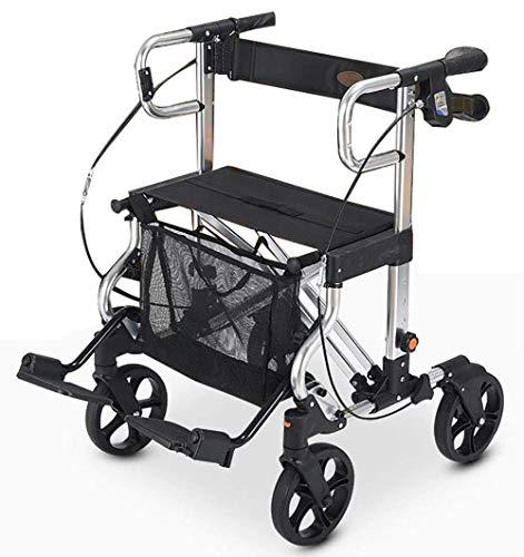 GEHHILFEAID Opvouwbare rollatorrollator met vier wielen met zit- en mandhoogte verstelbare vierwielige rollator met pedaal en rugsteun voor het oudere winkelen