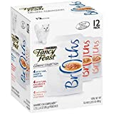 Purina Fancy Feast Broths Adult Wet Cat Food Complement Variety Packs - 12 (1.4 oz. Pouches) (3 Flavor Classic Broth Collection, (12) 1.4 oz. Pouches)