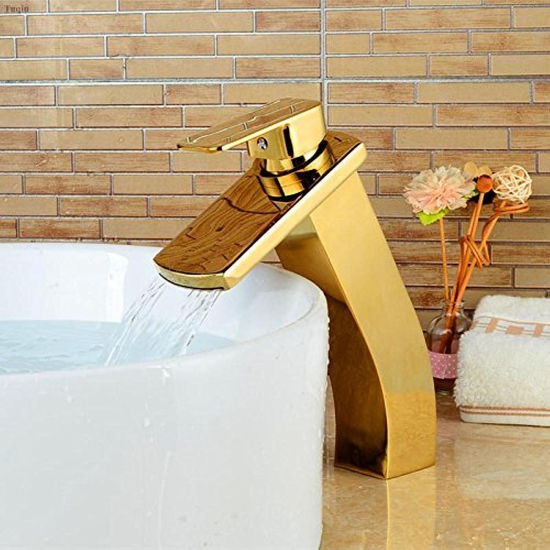 Neue Ankunft Wasserfall Wasserhahn hohe Kalte und warme Badezimmer Waschbecken Armatur Gold Basin Wasserhahn, Wasser Tippen Sie auf Mischpult, EIN