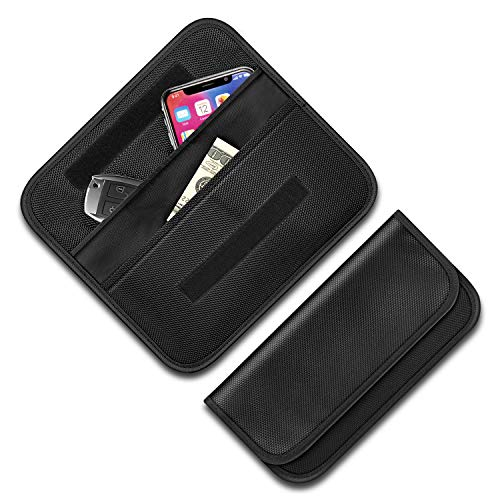 JLRT Large Faraday Key Fob Protector, RFID Blocking Faraday Bag Cell Phone,Farday Cage Signal Blocker, Cell Phone Key Fob Protector