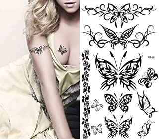 Supperb Temporary Tattoos - Black Tribal Butterflies