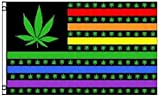Rainbow Marijuana Pot Leaf USA Polyester 3x5 Foot Flag Weed Banner Hippie New