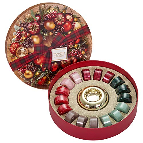 Yankee Candle Set Regalo con 18 Tea Light e Portacandela e 1 Supporto in Ceramica Dorata, Confezione Regalo Festiva a Forma di Ghirlanda