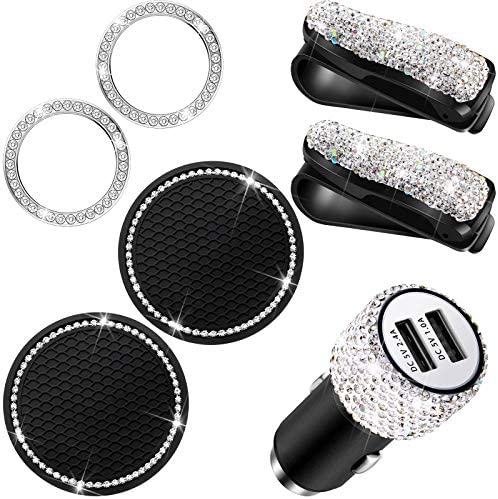 7 Pieces Bling Car Accessories Set Including Bling Car Visor Glasses Holder USB Car Charger product image