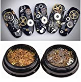 1Box Ultra-thin 3D Punk Time Gears Nail Studs Nail Art Decorations Alloy Manicure DIY Nail Tips Decal Steam Punk Gear Nail Charms For Women Girls (Approx.100-150PCS) (Gold)