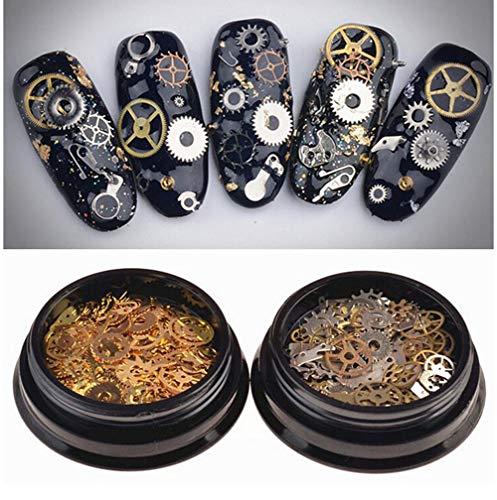 VASANA 2 cajas (200-300 piezas) patrón mixto ultrafino 3D metal Steampunk engranajes encantos DIY reloj colgante rueda engranaje clavo clavos clavos decoración decoración aleación manicura DIY