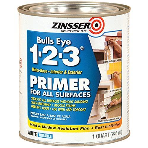 Zinsser 02004 Bulls Eye 1-2-3 All Surface Primer, Quart, White