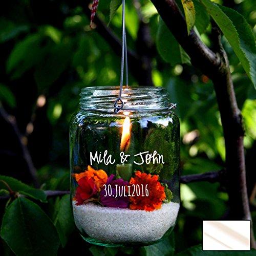 ilka parey wandtattoo-welt Wandtattoo Sticker Aufkleber zur Hochzeit Namen und Datum Windlicht M1986 ausgewählte Farbe: *milchglas* ausgewählte Größe: *M - 10cm breit x 4,4cm hoch*