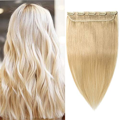 (20-60cm) Extension Capelli Veri Fascia Unica 5 Clips 100% Remy Human Hair 3/4 Testa Piena Lunghi 20cm 40g Capelli Naturali - 613 Biondo Sbiancante