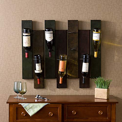 7-Bottle Wall-Mount Wine Rack Brown Multi Color Traditional Metal