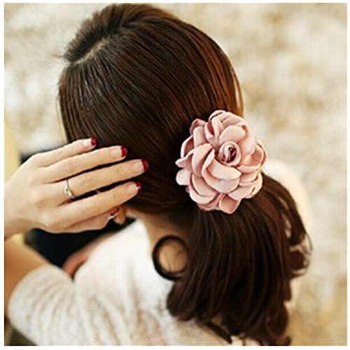 LOVEF Jewelry Women Girl 6pcs?mixed Color) Cloth Rose Flower Design Ponytail Holders Hair Tie Assorted Rope Rubber Bands Accessories