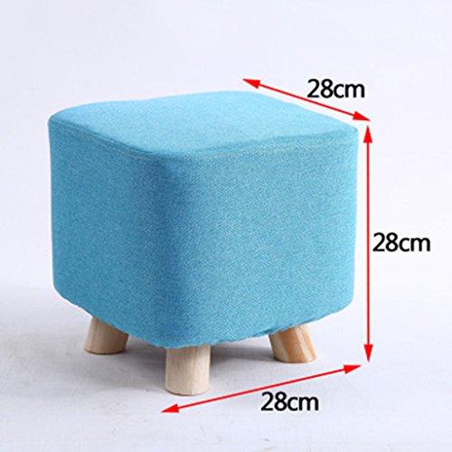 Salon Tabouret de canapé en bois massif Tabouret de famille Tabouret de chambre 28 * 28 * 28cm (Color : Blue)