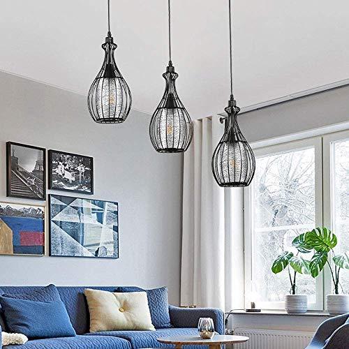 NZDY Negro Moderno Simple Colgante Lámpara Europea Iluminación Decorativa Iluminación Lámpara Ajustable Altura 3-Luces Sala de Estar Techo Colgando Luces Dormitorio Colgante Luz