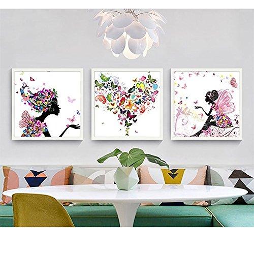 Display08 - Cuadro decorativo con diseño de flores de mariposas para decoración de pared 40*40cm 5#