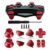TOMSIN Botones de metal para DualShock 4, Aluminio Metal Pulgares Analógicos Grip & Bullet Botones & D-pad & L1 R1 L2 R2 Trigger para PS4 Controller Gen 1 (Metal Rojo)