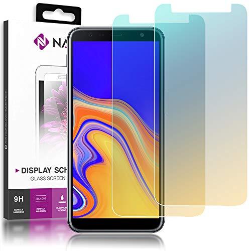 NALIA (2-Pack) Schutzglas kompatibel mit Samsung Galaxy J6 Plus, 9H Full-Cover Bildschirm Schutz Glas-Folie, Dünne Handy Schutzfolie Display-Abdeckung, Screen Protector Tempered Glass - Transparent