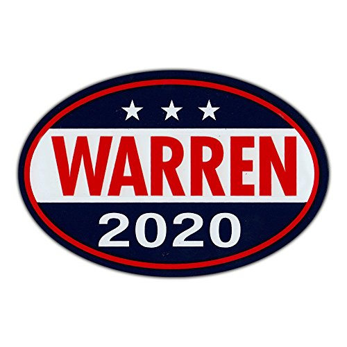 "Oval Shaped Magnet - Elizabeth Warren for President 2020 - Democrat Party Magnetic Bumper Sticker - 6"" x 4"