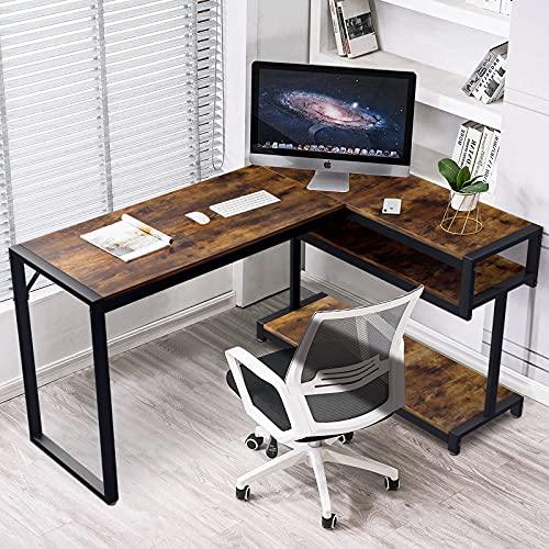 Scrivania, Scrivania Angolare, Scrivania a Forma di L per Computer, con Ripiani,Stile vintage e industriale, per Ufficio, Facile da Montare (Marrone)