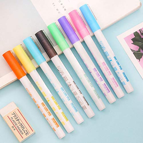 Zoreni Dream Color Double Line Pen 8 Colors, Gift Card Writing Drawing Pen Double Line Contour Pen Stationery