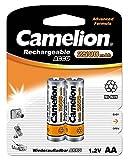 Camelion 17025206 - Ni-MH Rechargable Batterien AA / HR6, 2 Stück, Kapazität 2500 mAh, wiederaufladbar, leistungsstarke Einwegbatterien für elektronische Geräte zur optimalen Energieversorgung