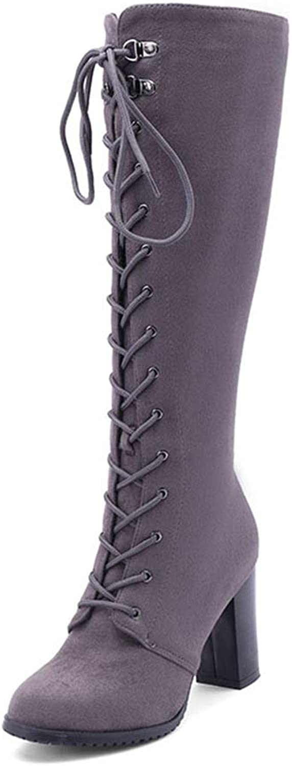 Wetkiss Plus Size Women Knee high Boots lace up Zip Woman shoes high Heels Boots Riding Autumn Winter Boot